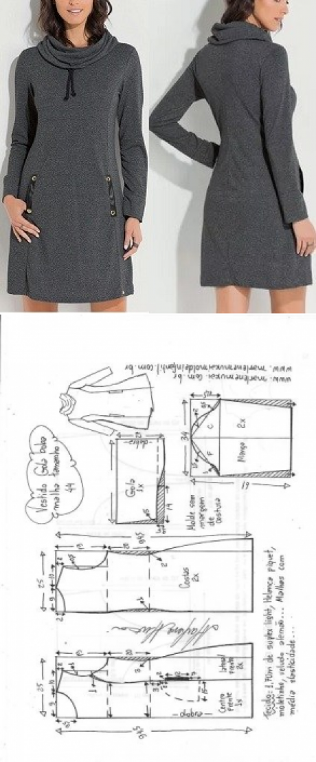 8713c2a4e Vestido gola boba para malha | DIY - molde, corte e costura - Marlene Mukai  #dressesmakingdiy