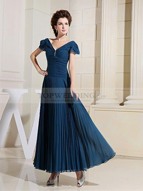 Megaraline - Chiffon V Neck Ankle Length Evening Dress with Pleats