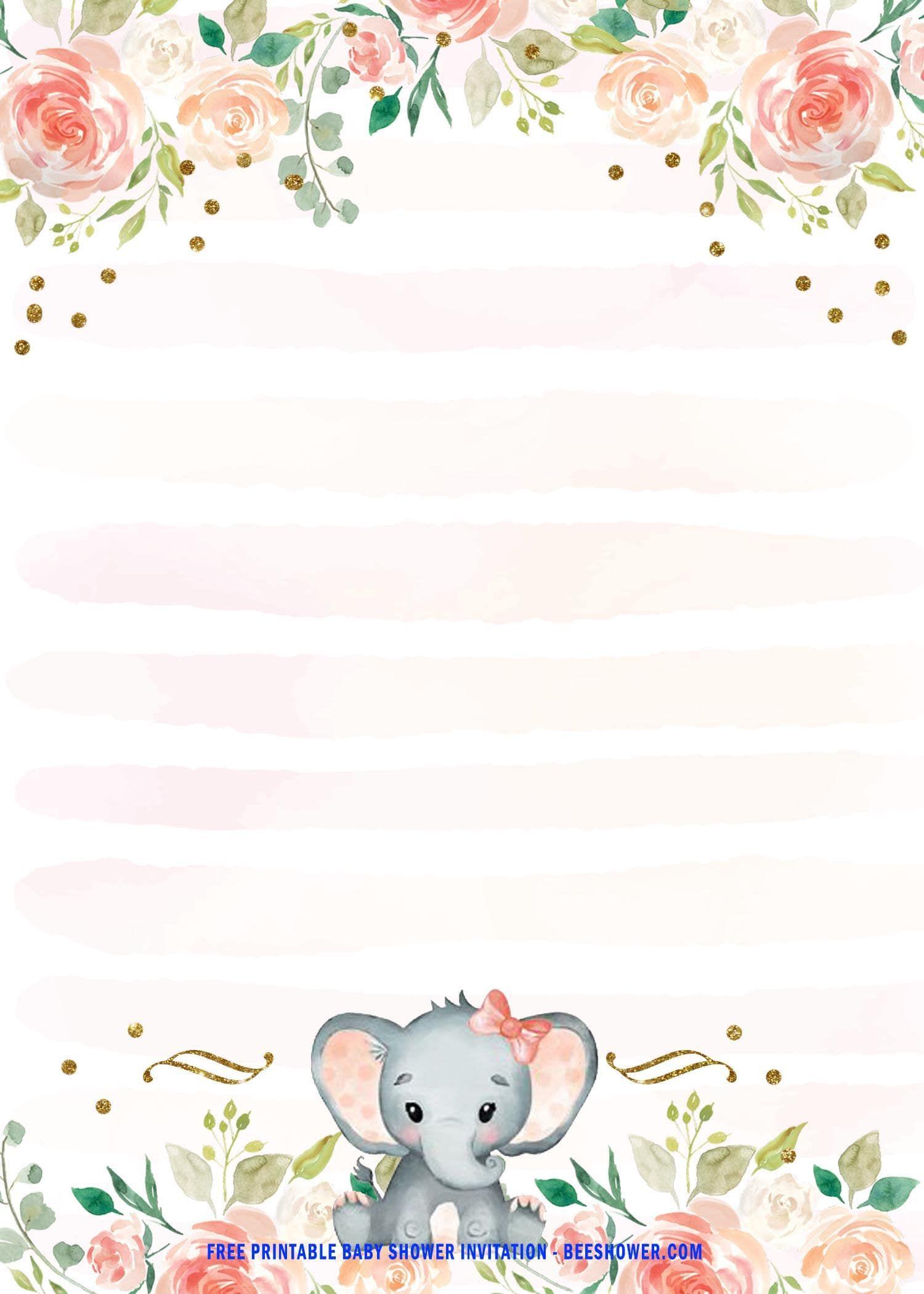 Pink Elephant Baby Shower Free Printables : elephant, shower, printables, Printable, Elephant, Shower, Invitation, Templates, Invitations,, Invites