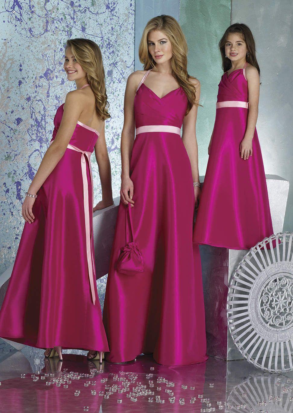 Magenta A-Line Halter V-Neck Satin Long Bridesmaid Dress With Light ...