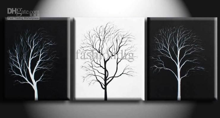 abstract wall tree black white oil painting canvas simple modern