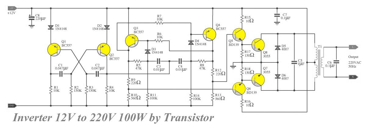 transistor inverter circuit 12v to 220v 100w inverter converter this circuit power inverter it easy and good ideas when use the electric appliances that want ac