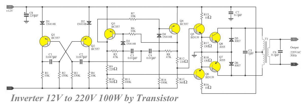 Transistor inverter circuit 12v to 220v 100w inverter converter transistor inverter circuit 12v to 220v 100w asfbconference2016 Gallery
