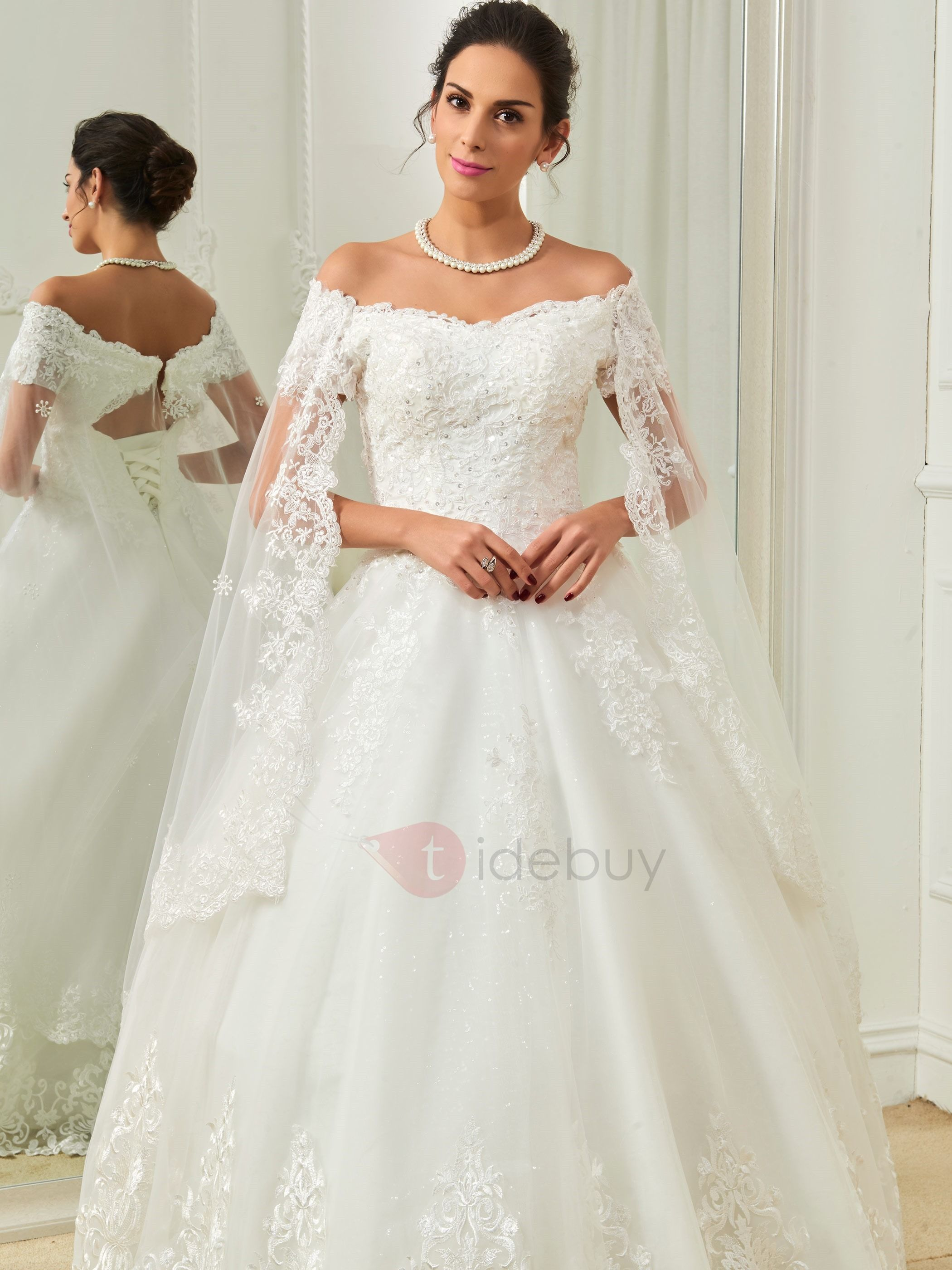 Exquisite Appliques Off the Shoulder Sequins Ball Gown Wedding Dress ...