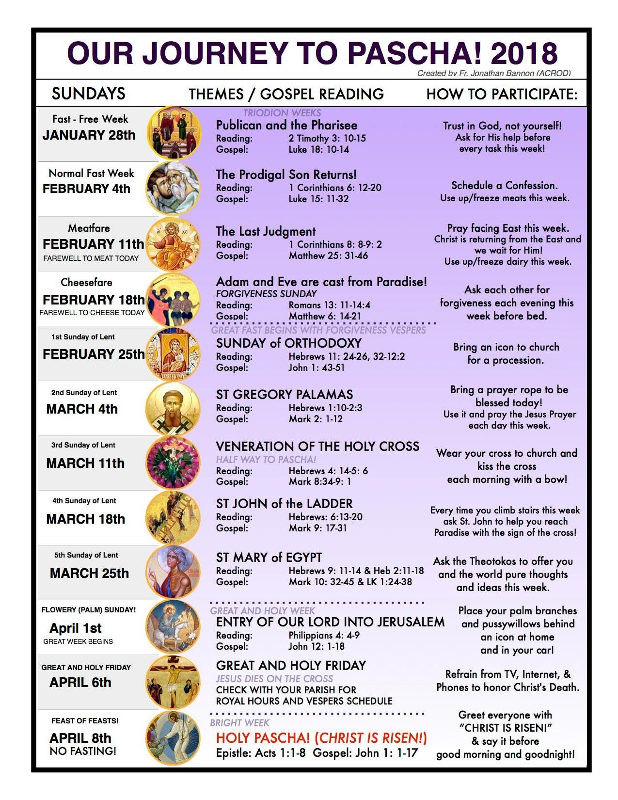 Orthodox Lenten Journey 2018 | Lent/Easter | Pinterest | Lenten
