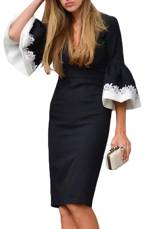d6a7d37cb6f5 Elegant Black White Bodycon Ruffle Sleeve Cuff Midi Dress | Products ...