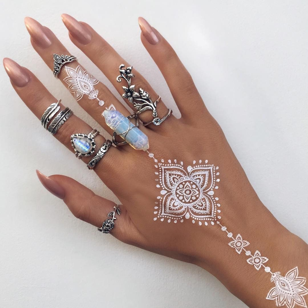 White henna crystal ring stacked silver rings for Where can i get a henna tattoo near me