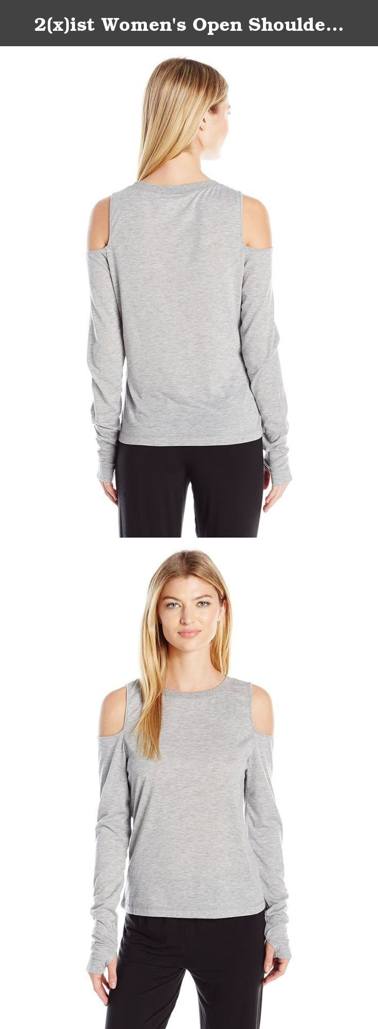 2(x)ist Women's Open Shoulder Tee, Grey, Small. Soft modal long sleeve with open shoulder detail and thumbholes.