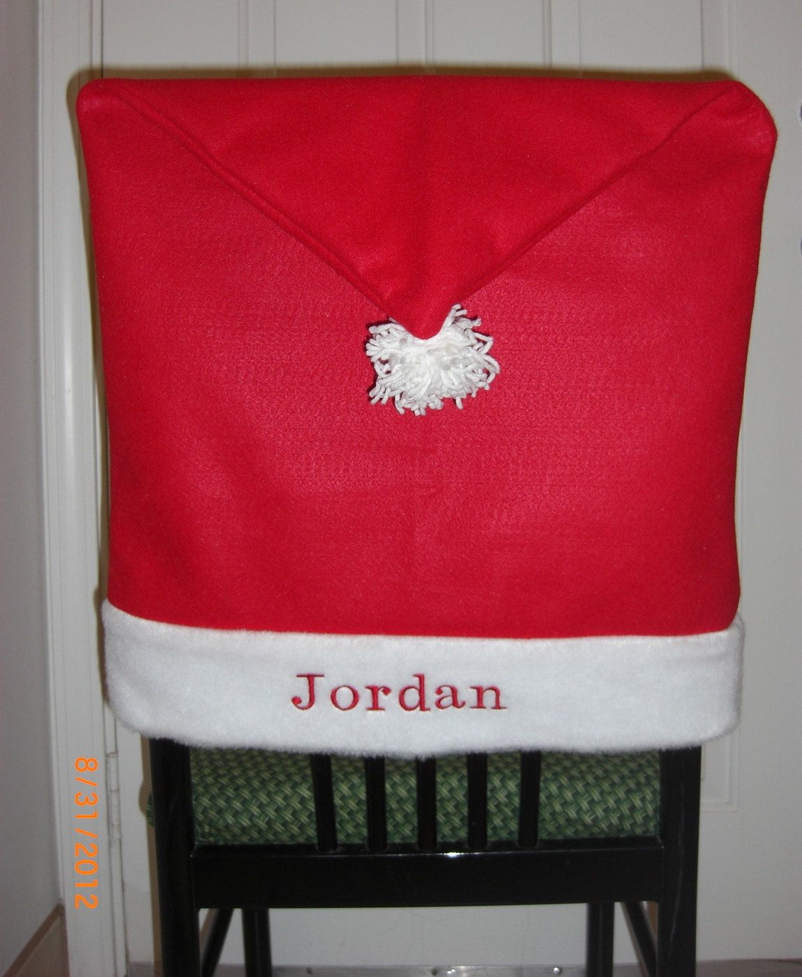 Christmas Chair Decorative Cover Backs for the Holidays Personalized Set of Two. $39.99, via Etsy.