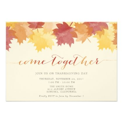 Watercolor Leaves Thanksgiving Party Invite  Thanksgiving