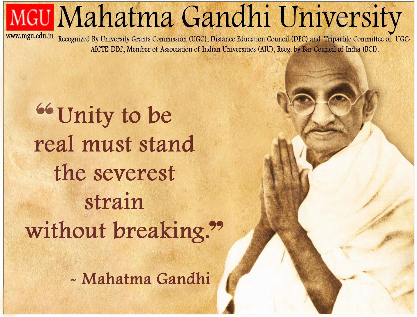 Unity To Be Real Must Stand The Severest Strain Without Breaking