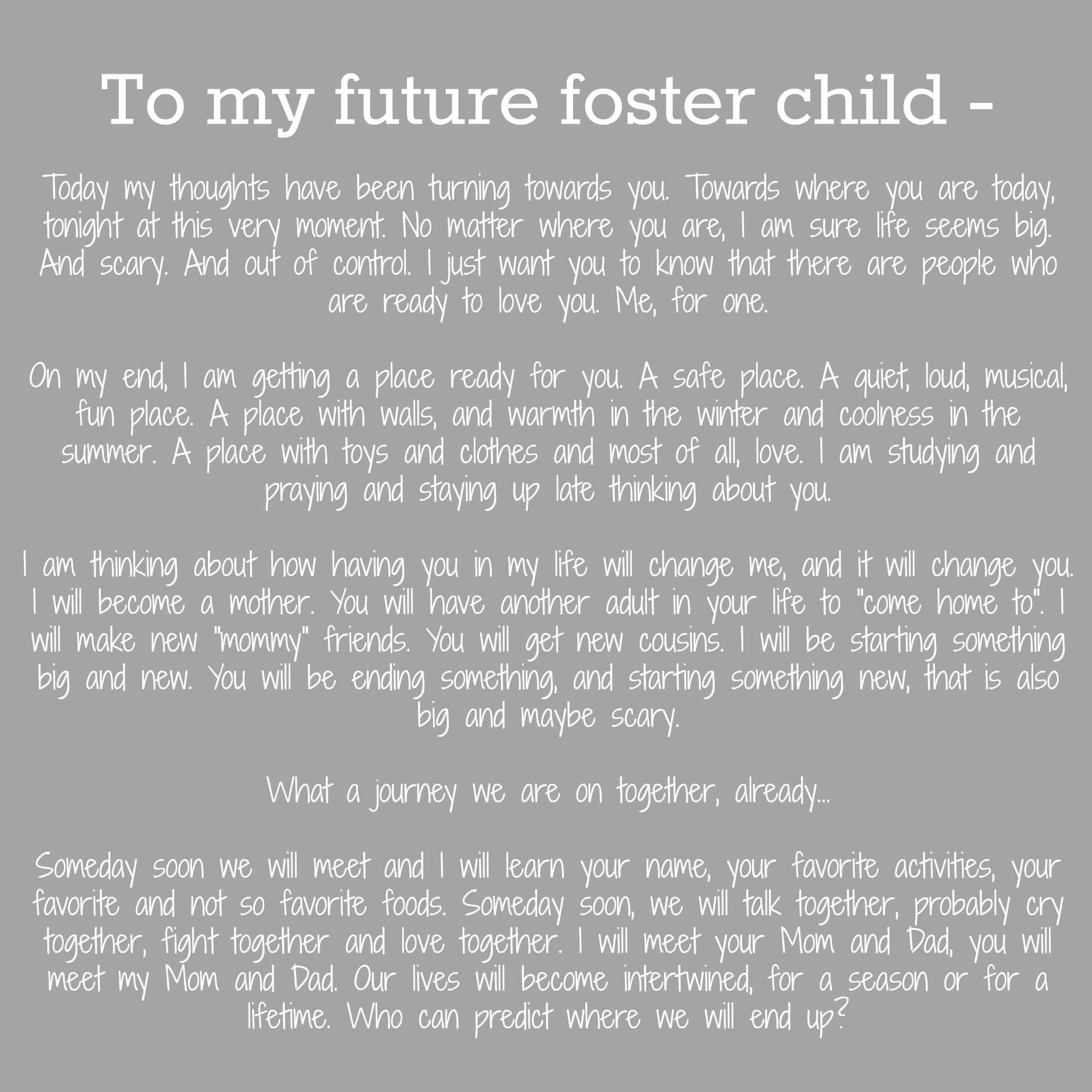 An Open Letter To My Future Foster Children Fostercare  Foster