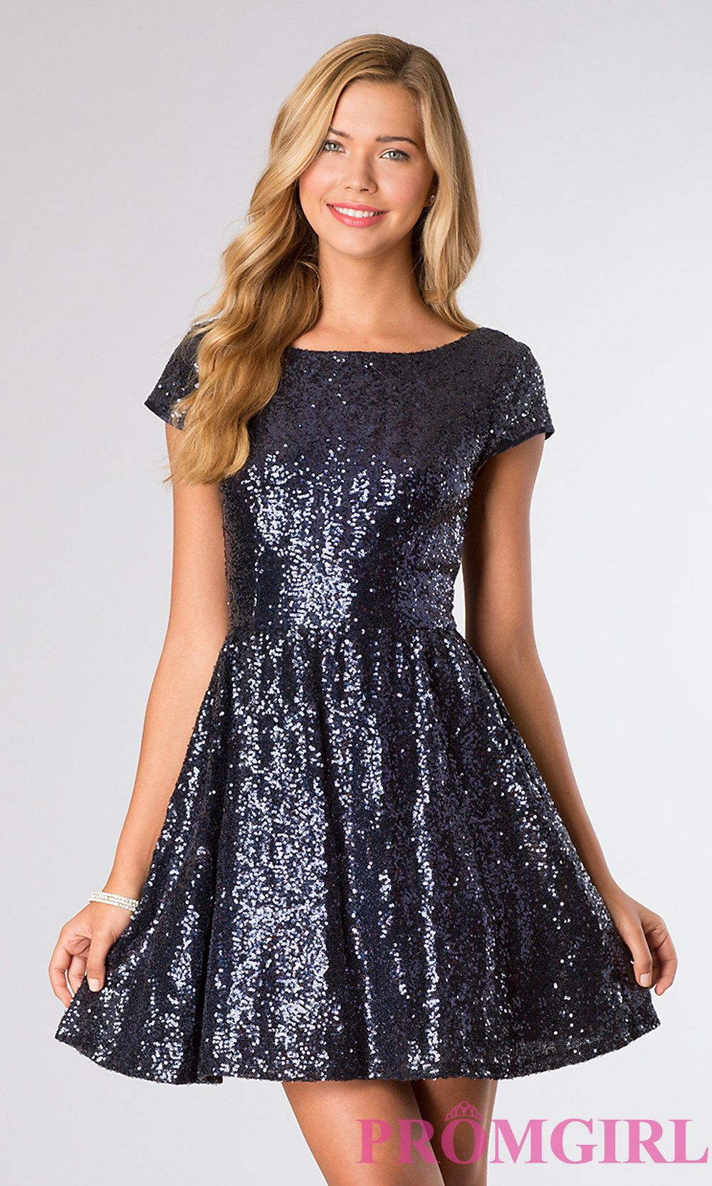 Short Sleeve Sequin Cocktail Dress by B Darlin | Shoes, Dresses ...