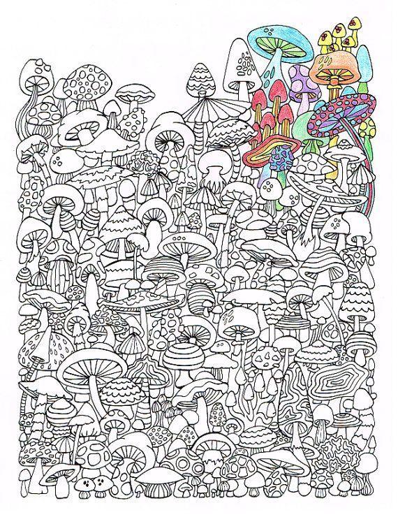 adult coloring page - mushrooms - printable coloring page for ... - Printable Coloring Pages Advanced
