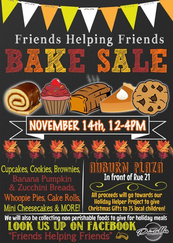 bake sale flyer bake sale invitation fall bake sale christmas