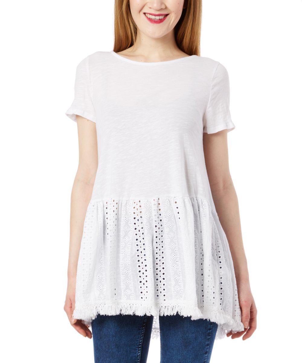 White Crochet Empire-Waist Tunic