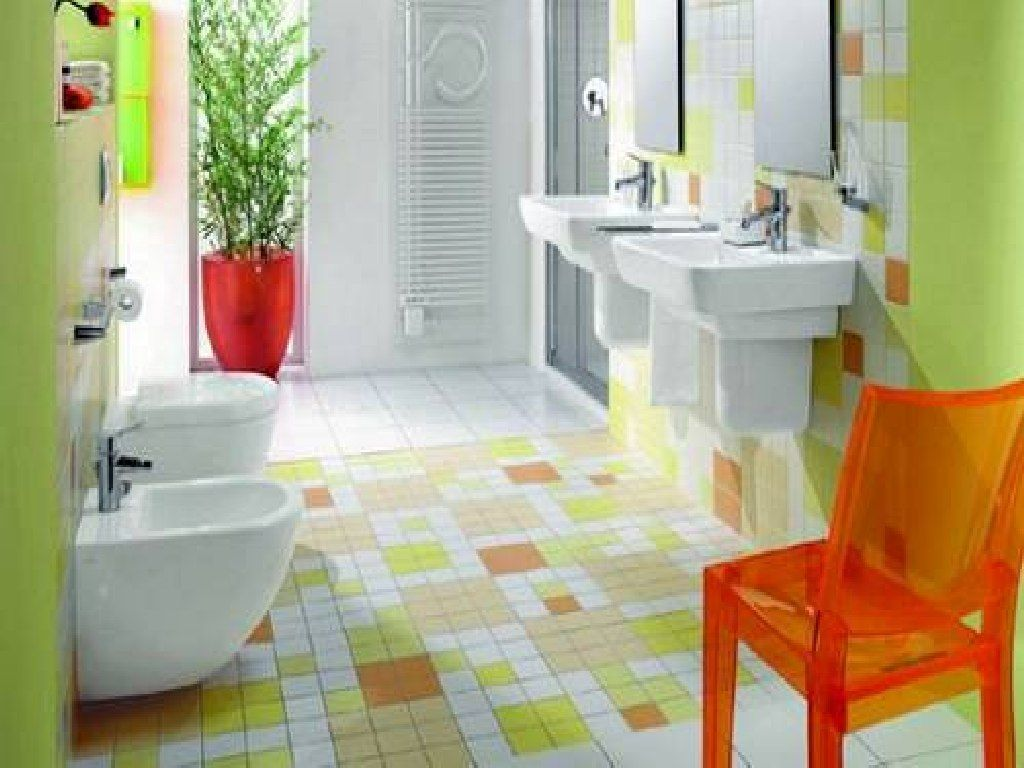 Awesome Green Lime Kids Bathroom Ideas with Colorful Ceramic Floor