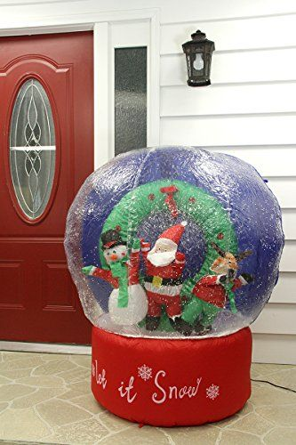 Inflatable Santa And Friends Snow Globe Lighted Christmas Yard Art