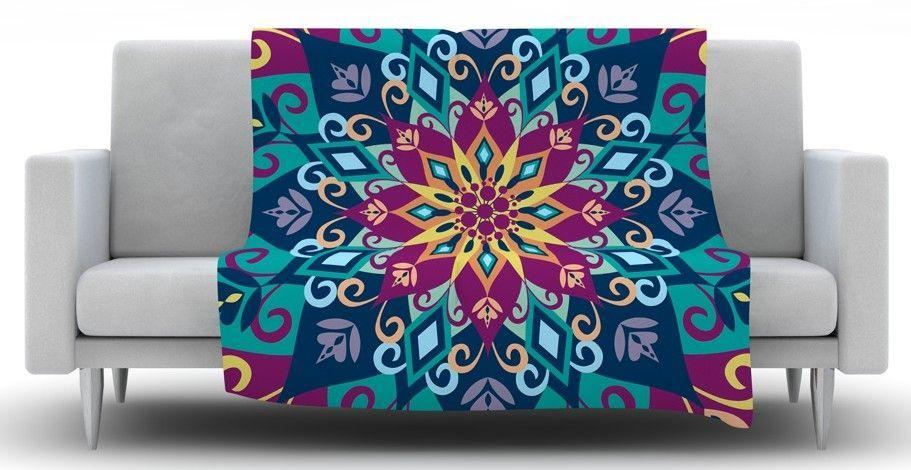 Blooming Mandala by Amanda Lane Fleece Throw Blanket