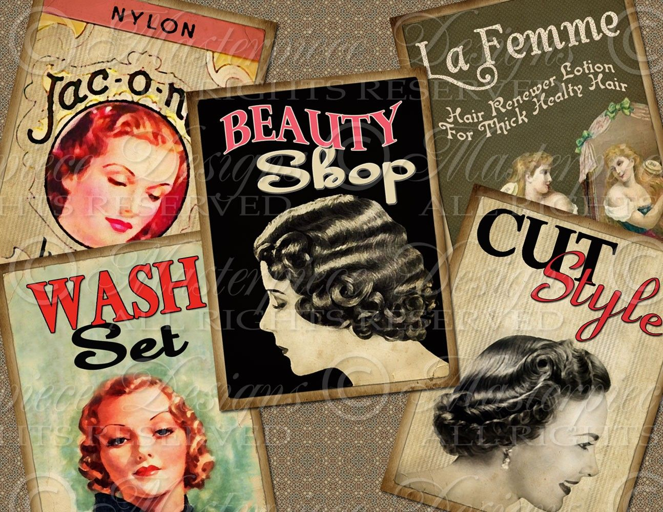 Beauty Shop Hair Salon Atc Aceo Hang Tags Download Etsy Vintage Beauty Salon Beauty Shop Retro Salon