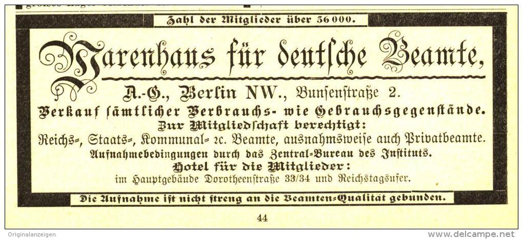 Original-Werbung/ Anzeige 1899 - WARENHAUS FÜR DEUTSCHE BEAMTE BERLIN - ca. 115 x 45 mm