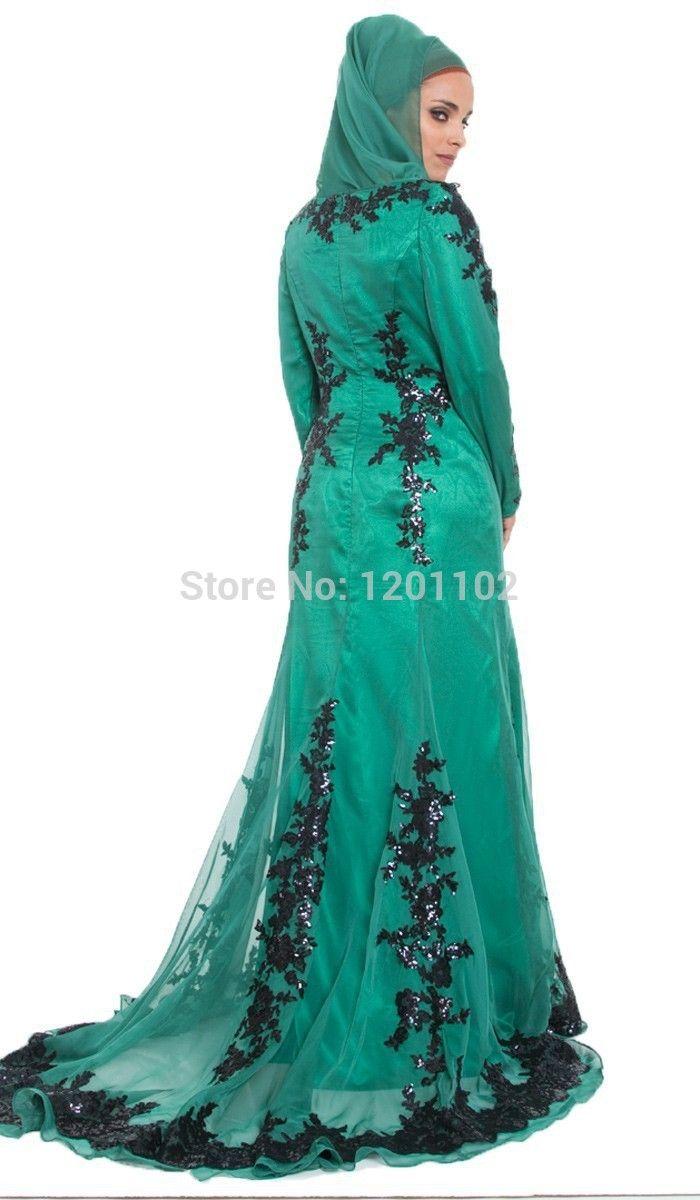 Vestido De Noiva 2015 Long Sleeve Black Lace Emerald Green Abaya ...