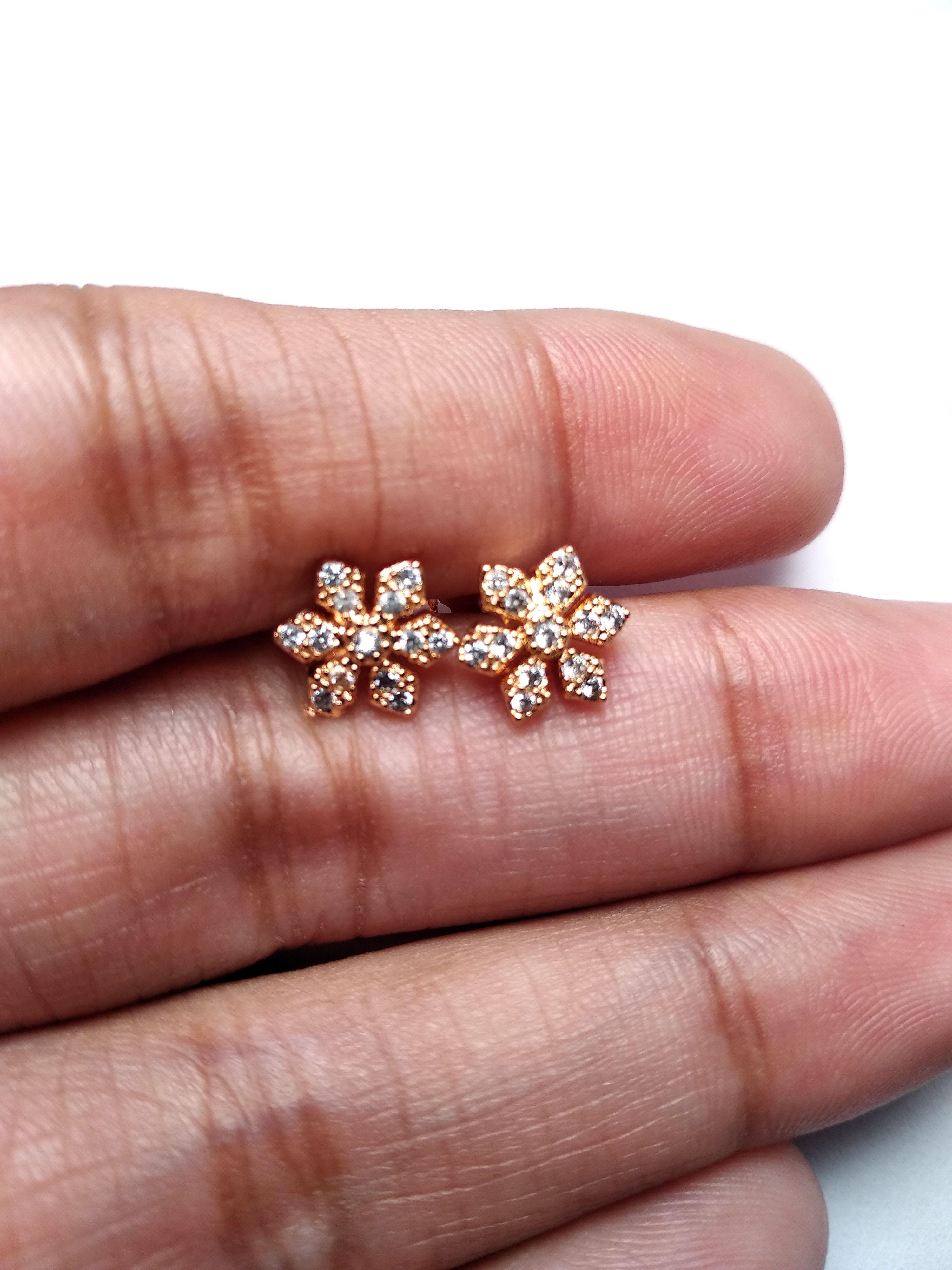 Gold Plated Diamond Cut Stud Earring, Diamond Halo Earrings, Stud ...