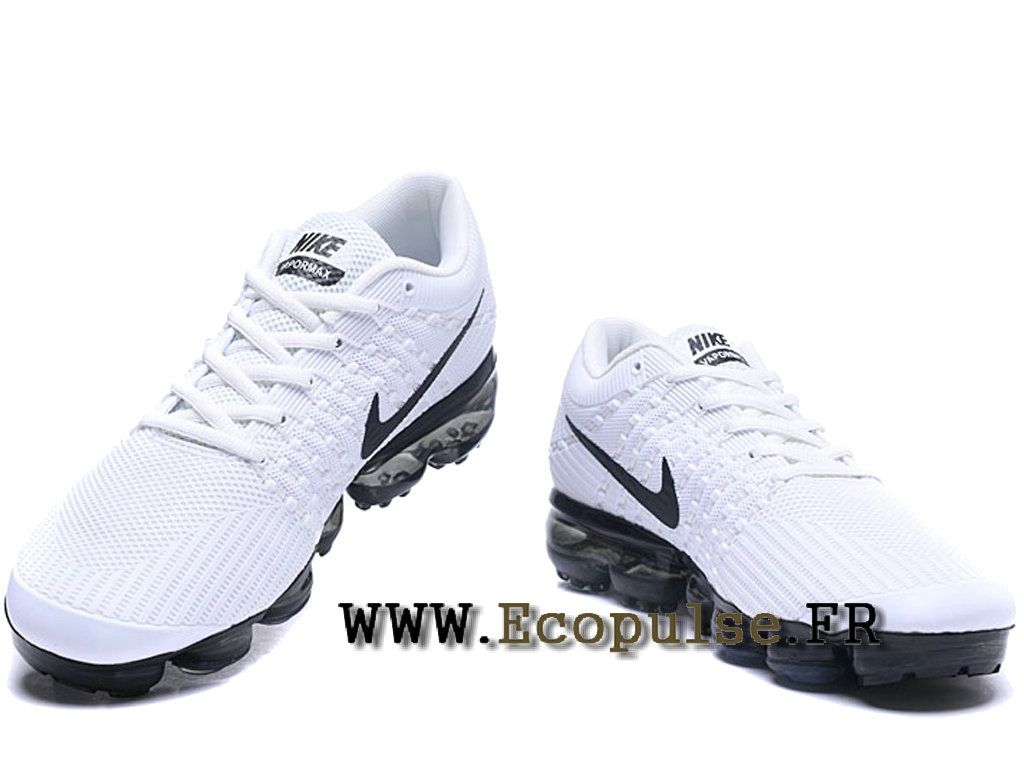Nike Air VaporMax 2018 Flyknit - Coussin paume Running Chaussures Pour Homme  Blanc / noir