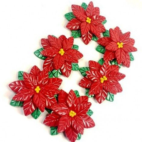 Red and Gold Poinsettias www.teeliesfairygarden.com There is no home in fairy land that doesn't have a red and gold poinsettias set outside their doors. Your fairies would certainly need this too, to follow tradition. #fairypoinsettias