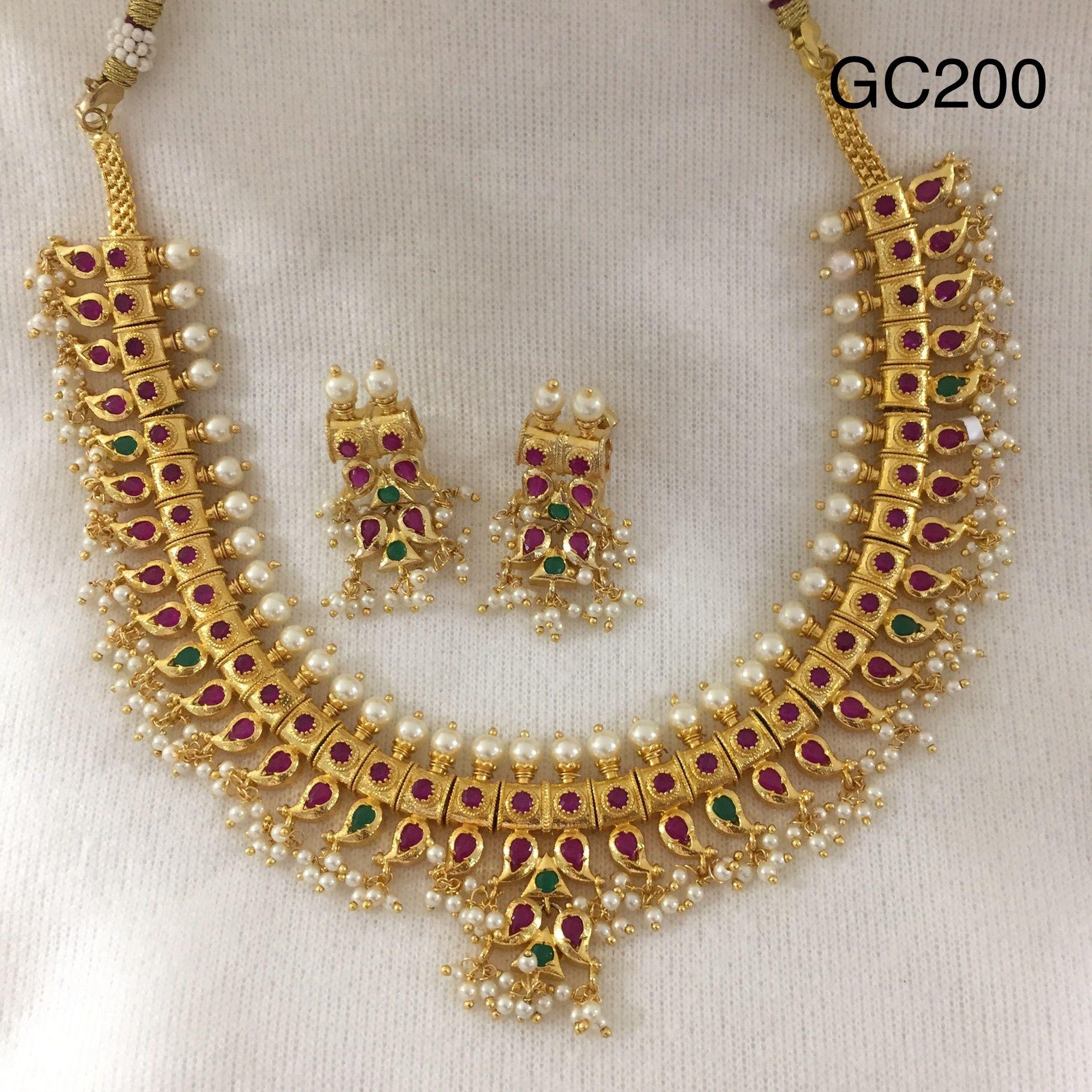 5ead0b39b7f01 One Gram Gold Jewellery Gutta Pusalu Necklace Set ,Mango Design ...