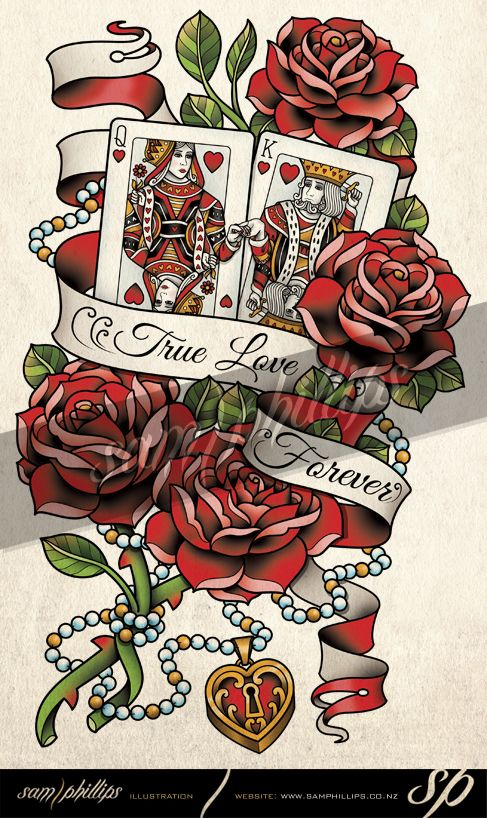 Cards King And Queen Of Hearts Tattoo By Sam Phillips Nzdeviantart