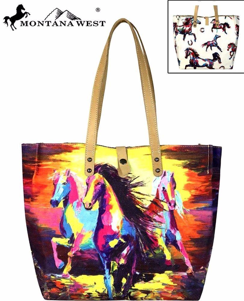 2a940a72c4b Montana West~Running Horses Print Canvas Handbag Tote~Shopper ...