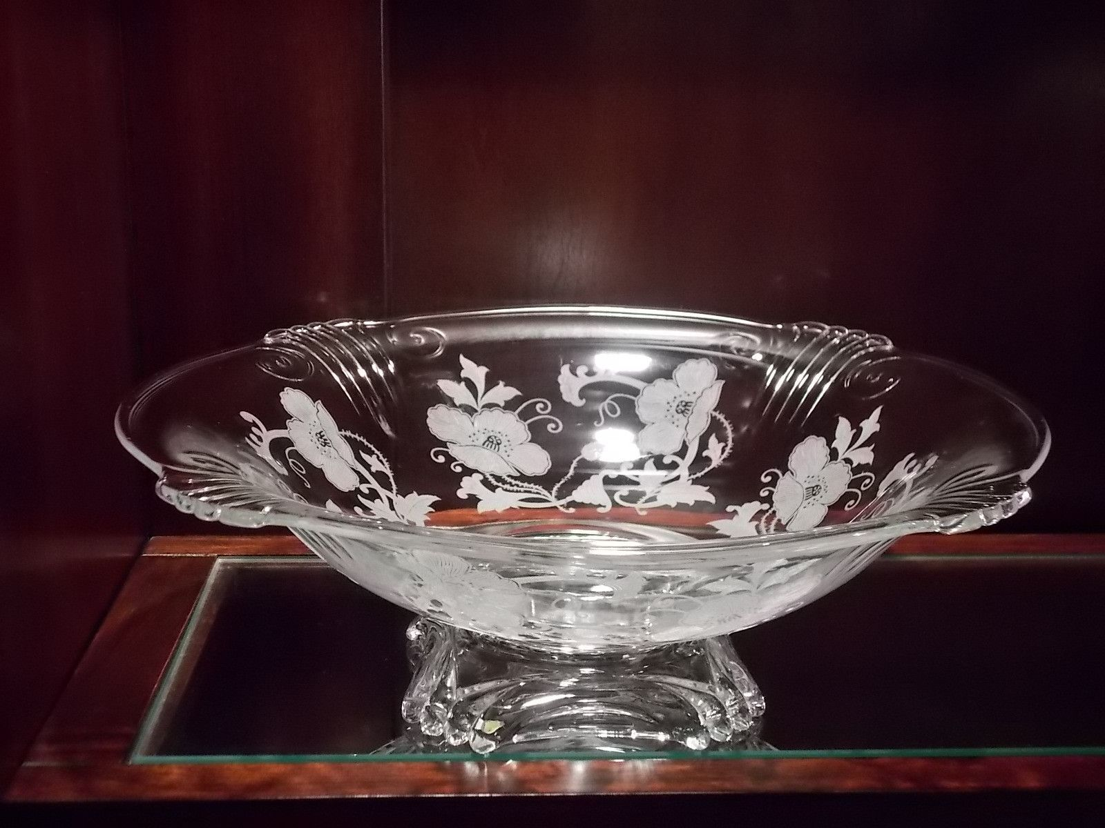 Large Etched Poppies Glass Bowl
