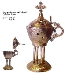 "~Deal of the Week!~   Beautiful Incense Burner on Pedestal - 7""  & get a FREE Roll of Charcoal Tablets:  Now Only $35.99  These unique Incense Burners are made of High Quality polished brass stand on 4 pedestals; imitating the Early Christian religious imagery style. The incense is a symbol for purification; The burning of incense removes all impurities and leaves only the essence for the blessing of God."