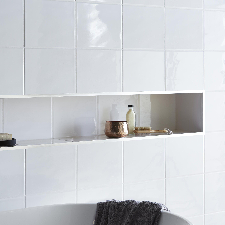 Holborn White Ceramic Wall tile, Pack of 20, (L)250mm (W)200mm ...