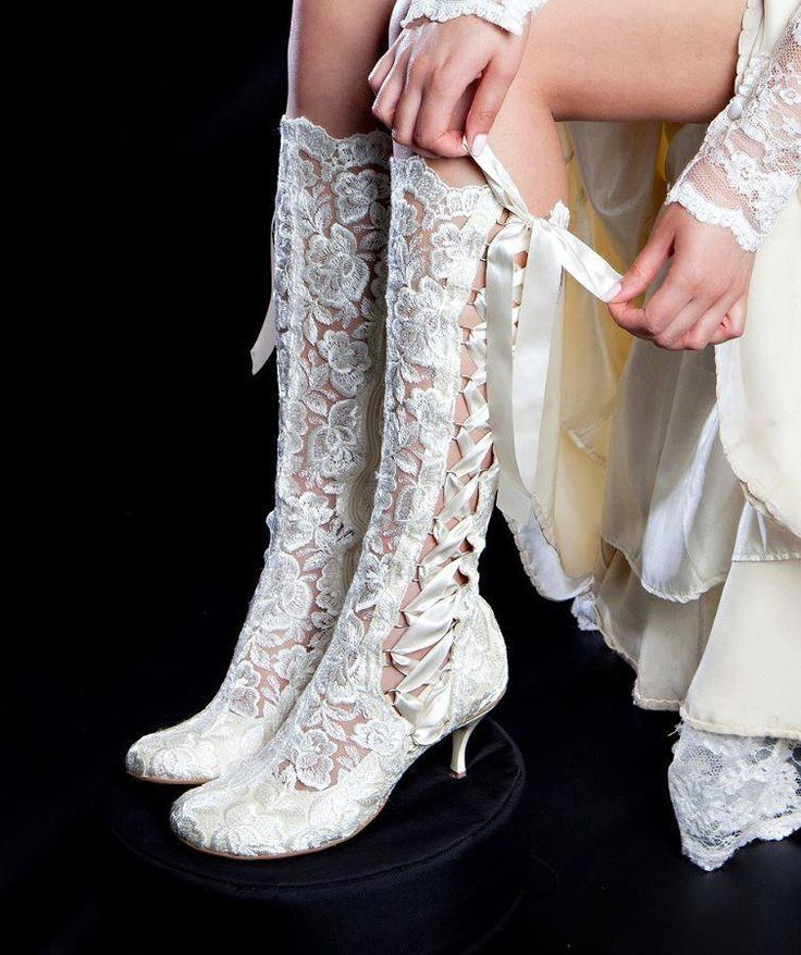 Evangeline Elliot Vintage Lace Wedding Boots These Unique Knee Length Are Made From Soft Ivory And Tie With Double Sided Satin Ribbon