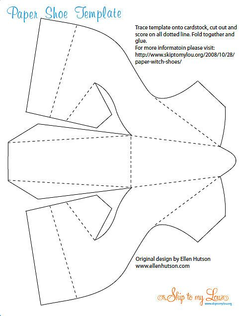 Paper High Heeled Shoe Template Page 1