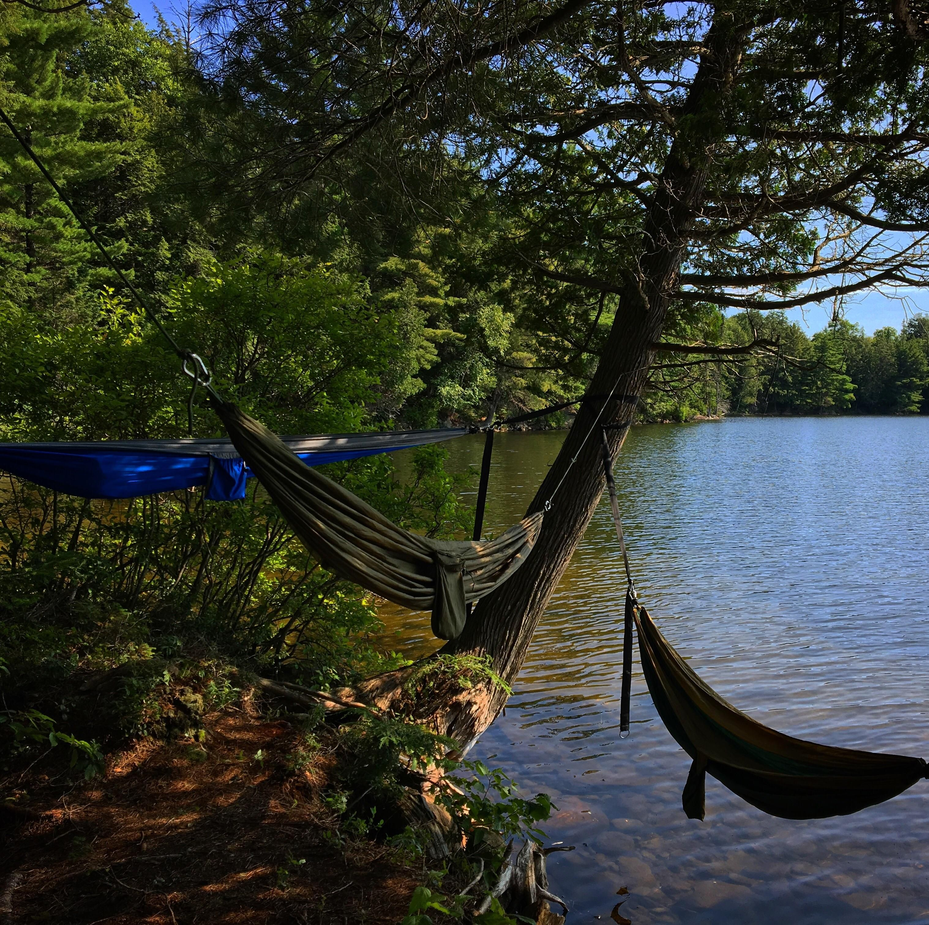 Triple Hammock setup in Algonquin camping hiking