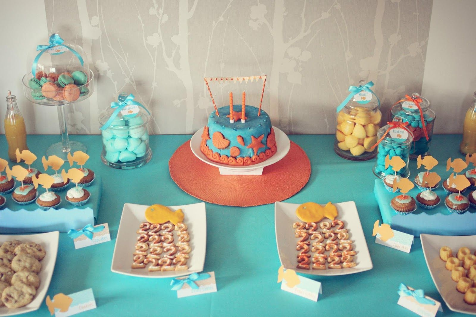 Le candy bar sweet table etc sweet table anniversaire th me mer poisson anniv sam 2015 Idee deco anniversaire garcon