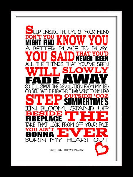Don/'t Look Back In Anger Heart Quote Song Lyric Print