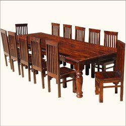 Large Solid Wood Rustic Dining Table Chair Set For 12 People Large Dining Room Table Large Dining Room Large Rustic Dining Table