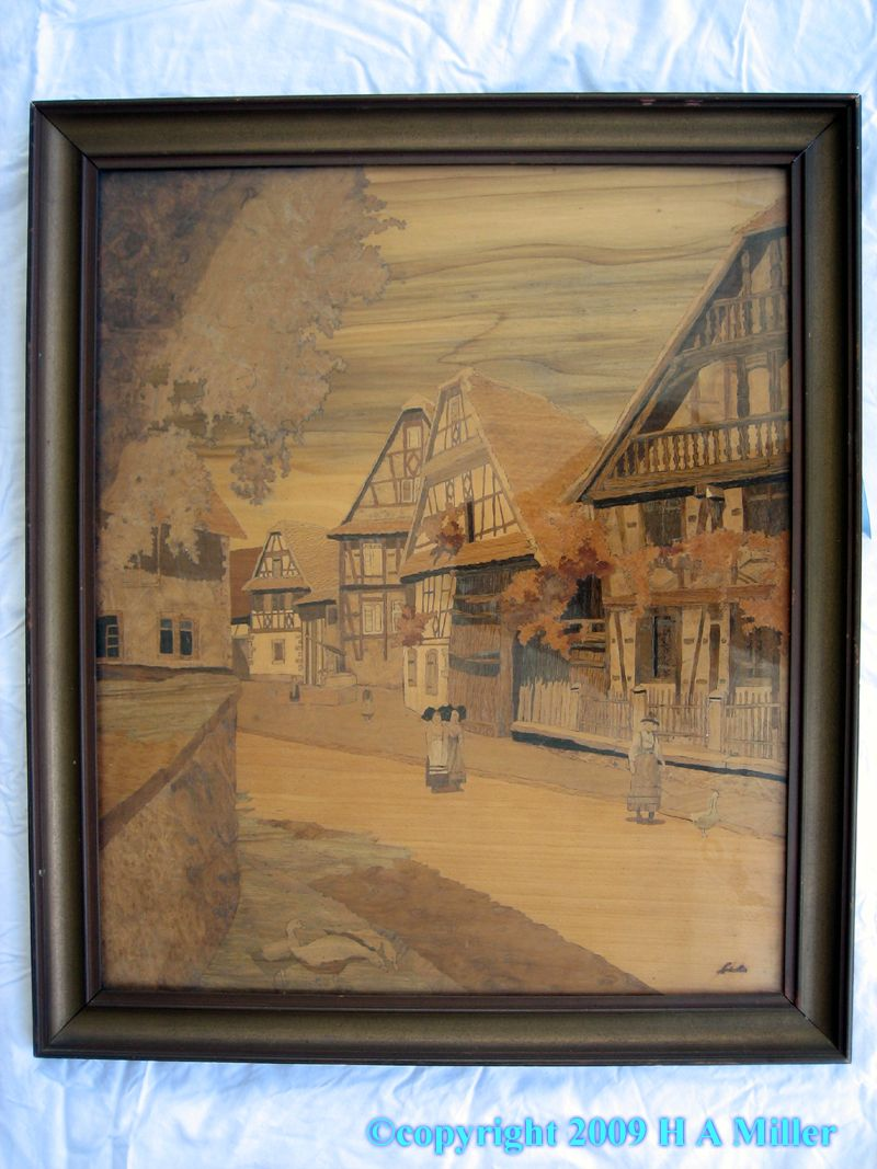 Loved this piece by Charles Spindler. Quaint Village scene. Love the grains as if brushstrokes.