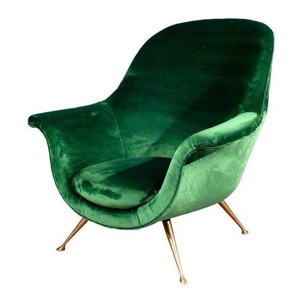 Elegant Armchair In Emerald Green Velvet 1950s Liked On