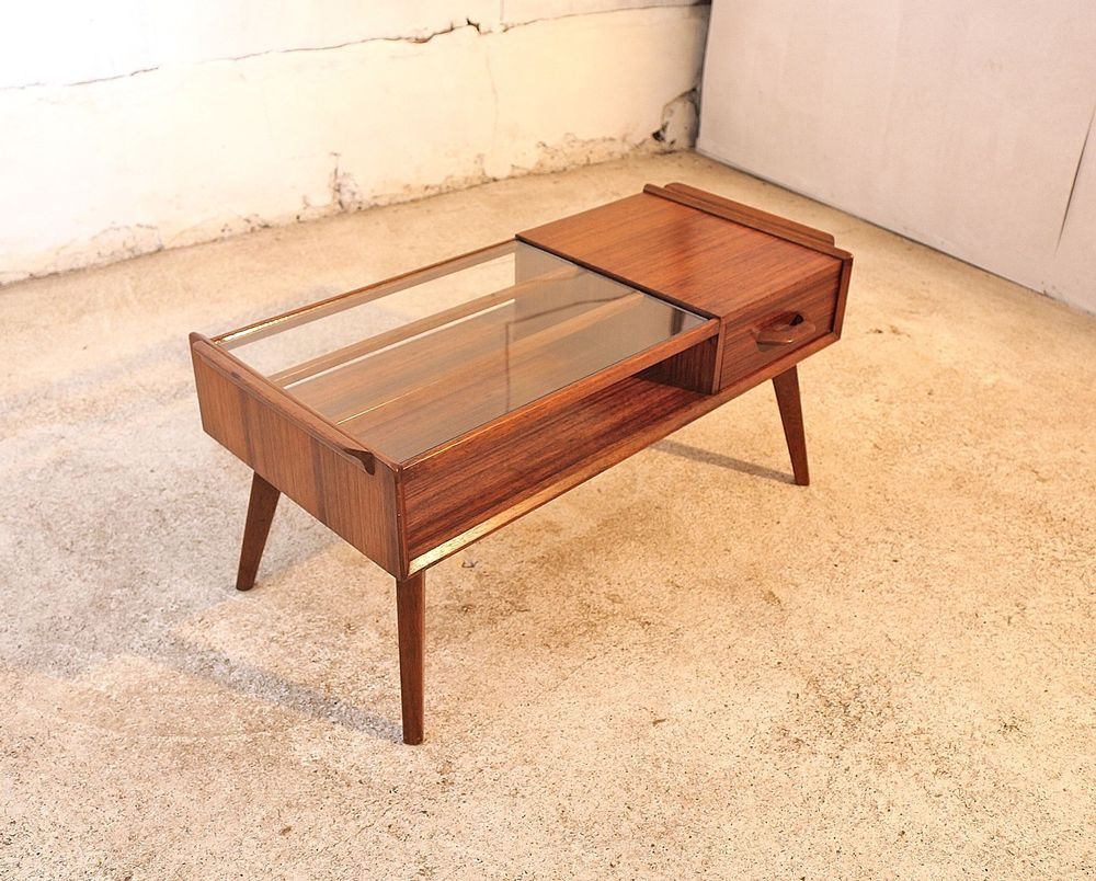 Retro light teak circular glass top coffee table nest of tables by - G Plan Coffee Table Rare Solid Teak Glass Mid Century Vintage Retro