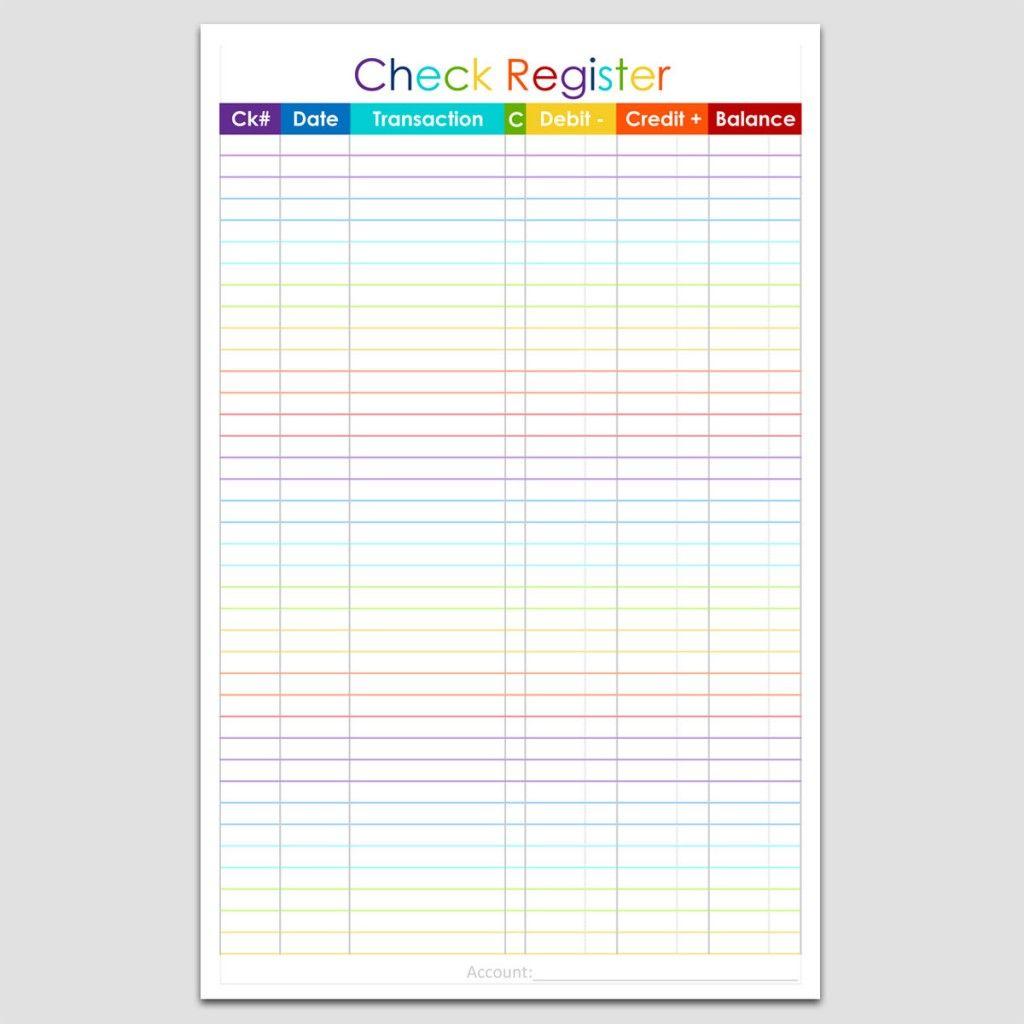 Checkbook Register 5 1 2 X 8 1 2 L