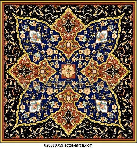 gold, quadrat, mit, phantasie, floral entwurf Große Clipart Grafik anschauen