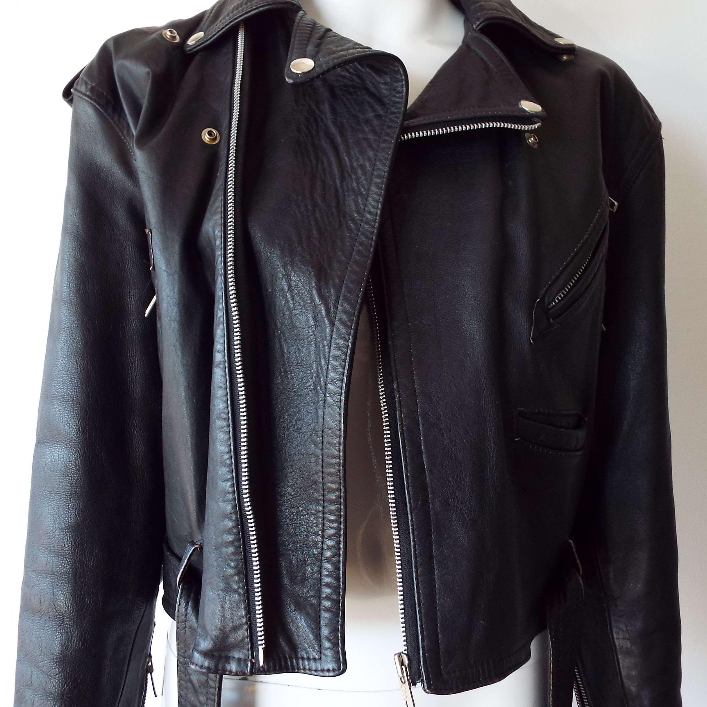 Vintage1970's 1980's Black Leather Motorbike Jacket Motor