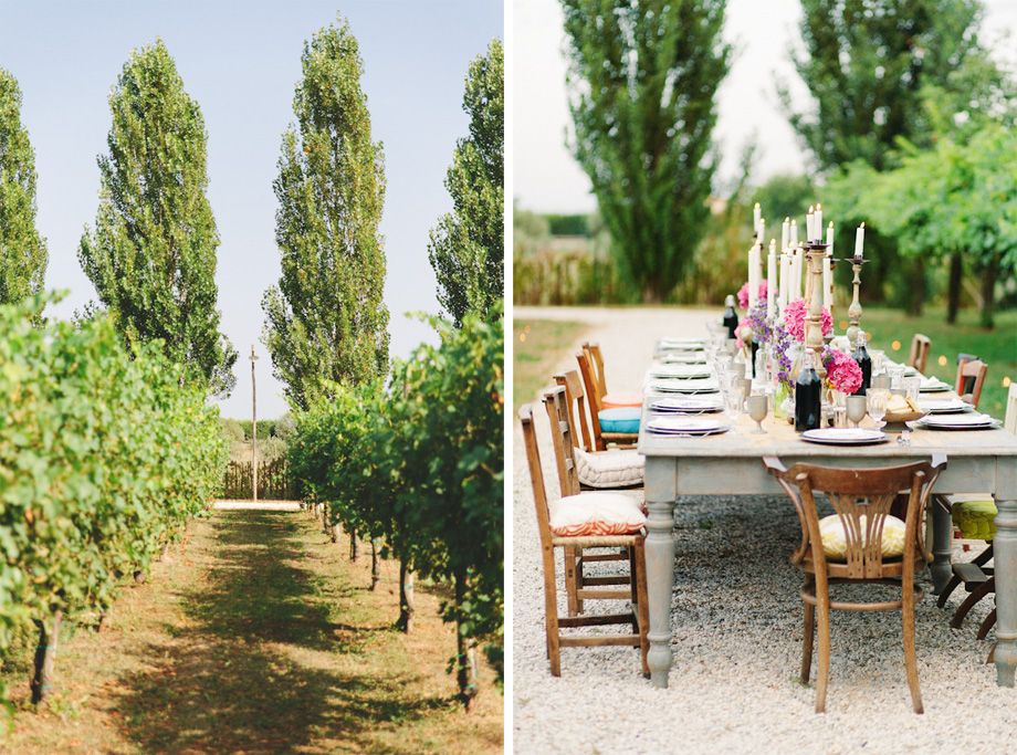 Fun outdoor wedding reception with multi coloured chairs