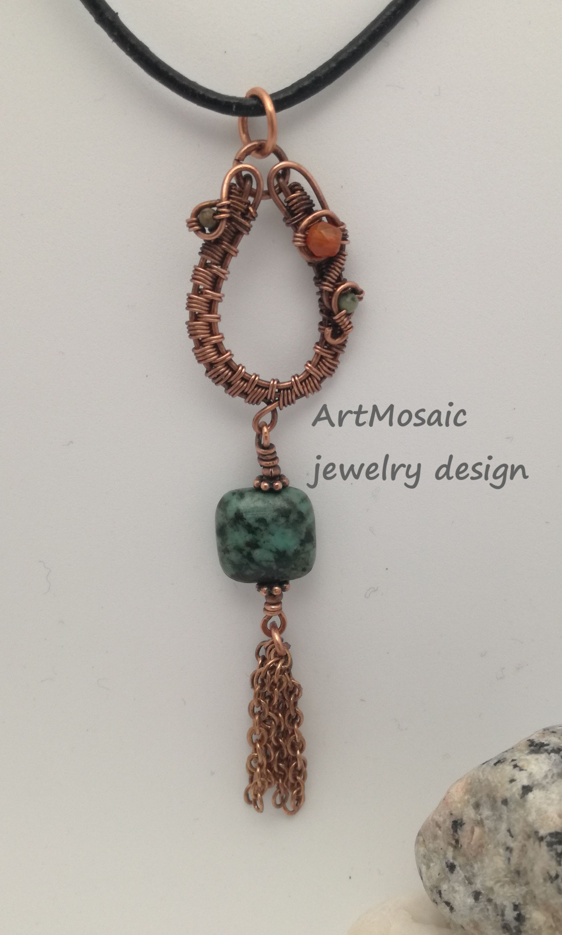 Tiny copper wire woven pendant with african turquoise and fire ...