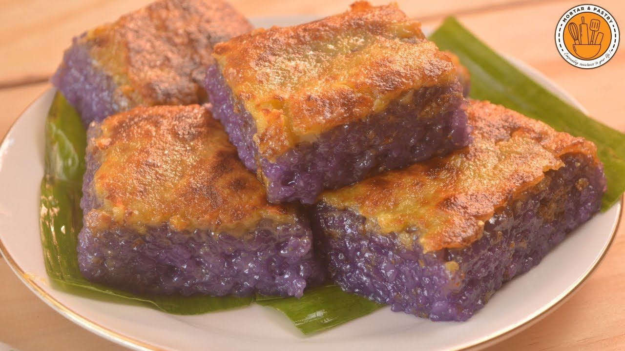 Ube Biko With Yema Topping Ep 104 Mortar And Pastry Youtube Homemade Snacks Asian Desserts Milk Recipes